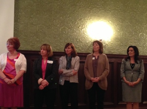2013 Breastfeeding Champions: Barbara Reudel, RD, LD, IBCLC, Denise Barbier, OTR/L, MOT, CIMI, CLC,  Rebecca Collins, MD, Peggy Rinehart, DNP, APRN, NNP-BC and Stephanie Hagerty, Assistant Principal, Newport High School