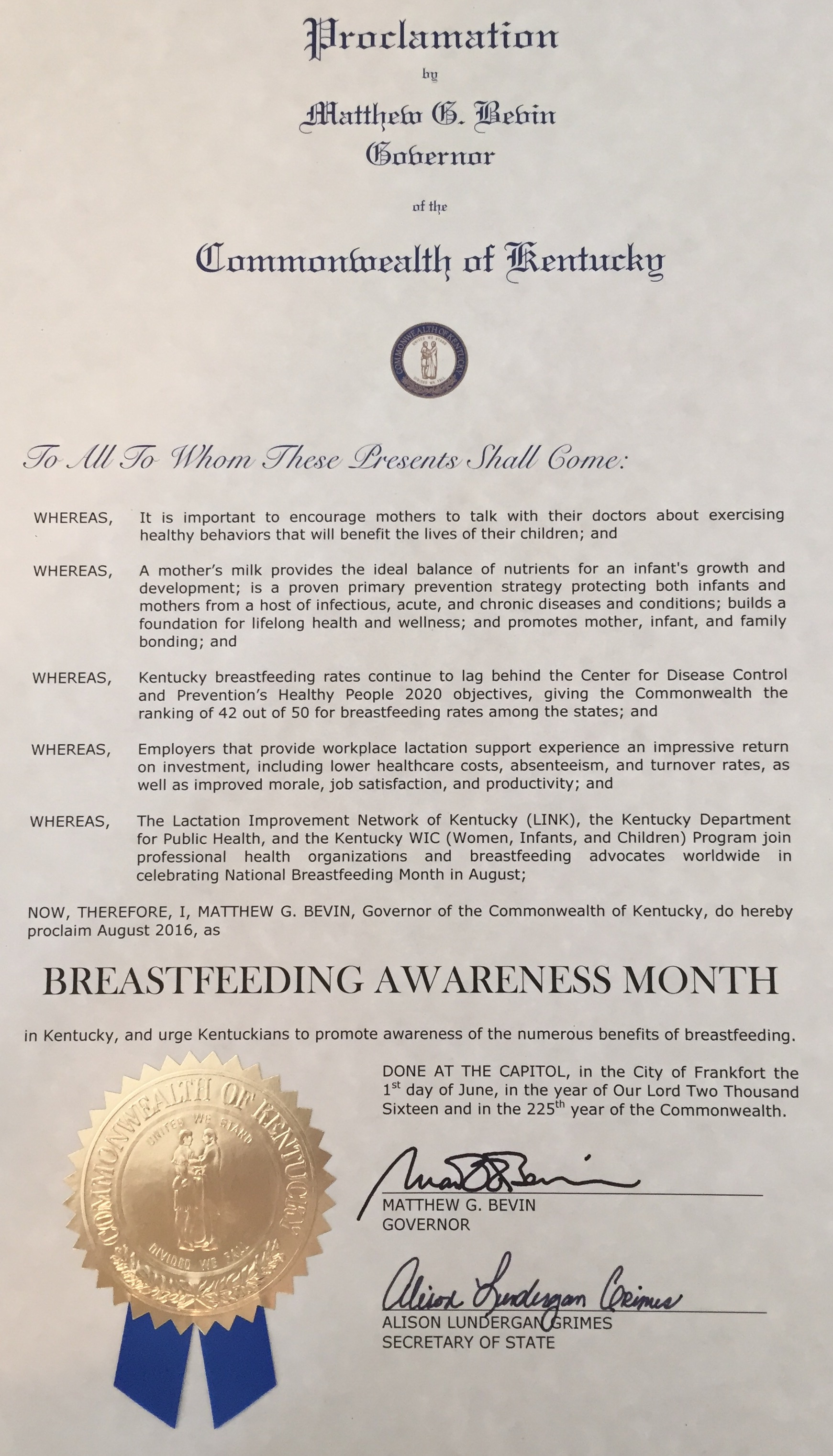 Governor Bevin Proclaims August Kentucky Breastfeeding Awareness Month